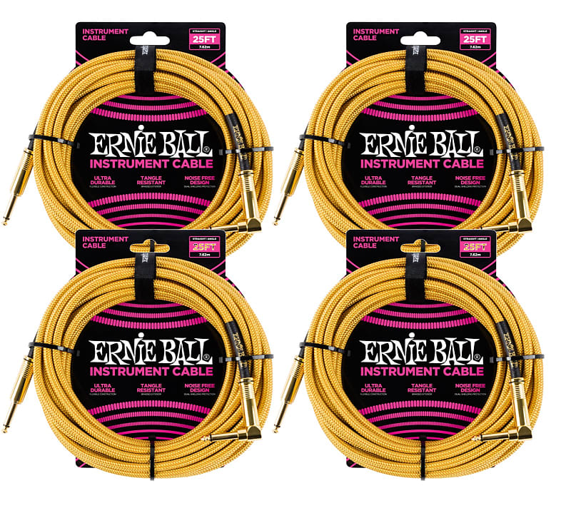 4 Pack Ernie Ball 6070 Instrument Cable 25 Braided Reverb