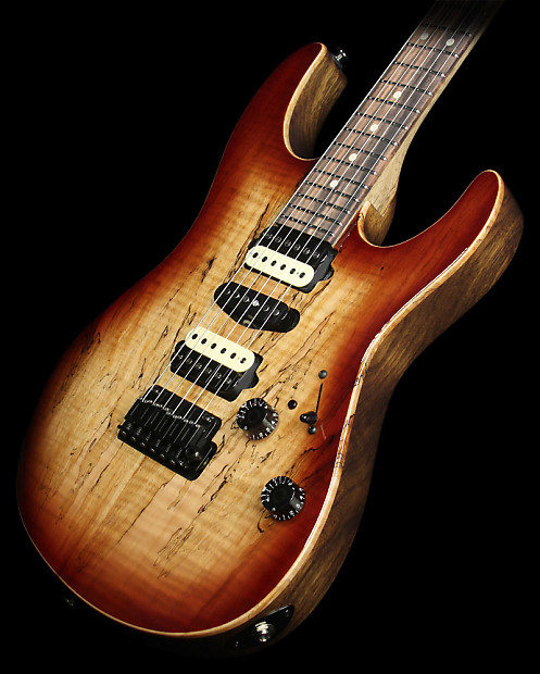 suhr modern spalted maple electric guitar dark brown burst reverb