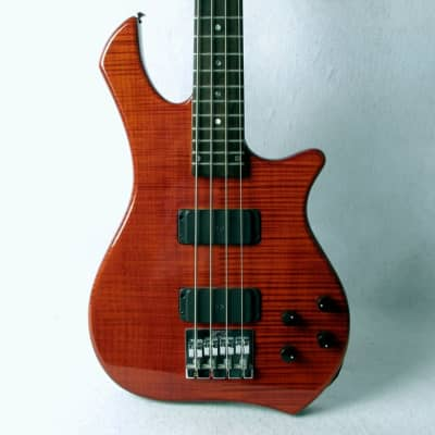 Zon Legacy Elite 4 String Bass Guitar Translucent Red Flame Maple Top USA 1999 for sale