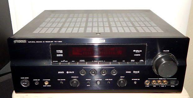 Yamaha RX-V663 home theater receiver with remote and ipod dock