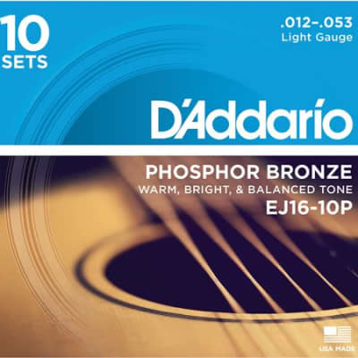 D'Addario EJ16-10P Phosphor Bronze Acoustic Guitar Strings 10-Pack, Light Gauge