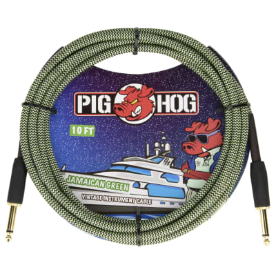 """Pig Hog 10-Foot Vintage Woven Instrument Cable, 1/4"""" Straight-Straight, Jamaican Green - New 2020!"""