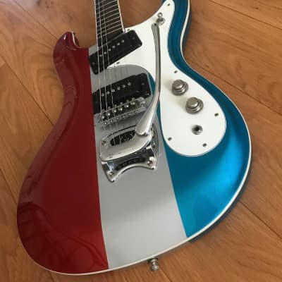 Hallmark 60 Custom RSB Red Silver Blue Prototype Mosrite Inspired OHSC for sale