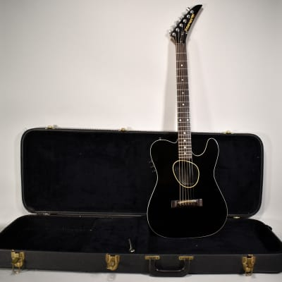 Circa 1985 Kramer Ferrington Black Finish Vintage Acoustic Electric Guitar w/OHSC for sale
