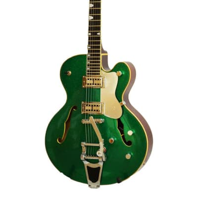 Alden AD Western Star Semi Acoustic Guitar Green Sparkle Jazz Archtop Hollow Body Electric Guitar for sale