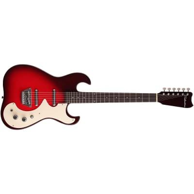 Silvertone Model 1449 Guitar, Rosewood Fretboard, Red Silver Flake Burst