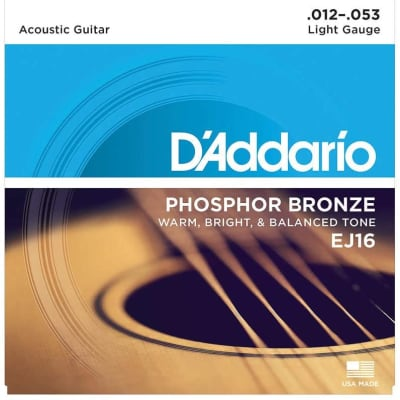 D'Addario EJ16 - Acoustic Guitar, Light Gauge 12/53