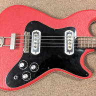 Mid 1960's Klira Arkansas Bass Guitar, Tiny Neck, Red Vinyl, Cool Sound, Unique! Germany for sale