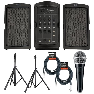 Fender Passport Conference Series 2 Portable Sound System with 2 XLR Cables, Stand and PGA48 Microphone