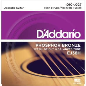D'Addario EJ38H Phosphor Bronze Acoustic Guitar Strings High Strung/Nashville Tuning 10-27