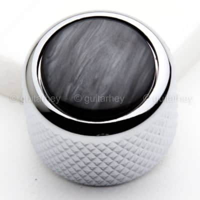 NEW (1) Q-Parts Guitar Knob CHROME with ACRYLIC BLACK PEARL on Dome KCD-0050