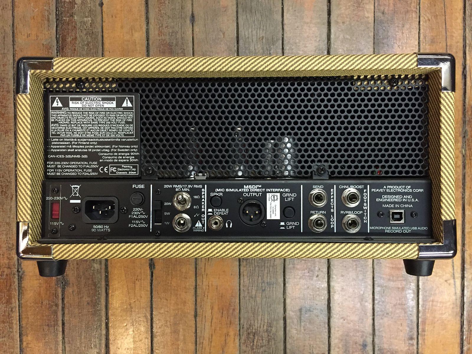 Peavey Classic 20 Micro Tube Guitar Amp Head Tweed Wiring 49994