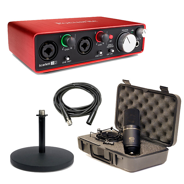 Focusrite Scarlett 2i2 2nd Gen USB Audio Interface With MXL 770 Mic, Stand  & XLR Cable