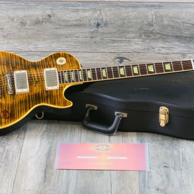 MINTY! 2003 Gibson Les Paul Custom Joe Perry Hand-Signed Boneyard Green Tiger Flame + COA OHSC for sale