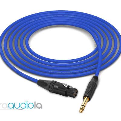 "Mogami 2534 Quad Cable | XLR-Female to Neutrik Gold 1/4"" TRS | Blue 9 Feet | 9 Ft. | 9'"