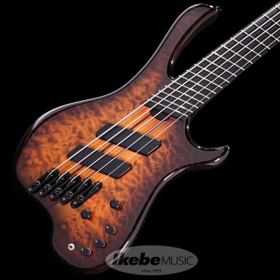 Sago Defi 5 Fanned Fret -Quilted Maple Top / Ash Back- (Tiger Eye Burst) [Ikebe Special Edition] for sale