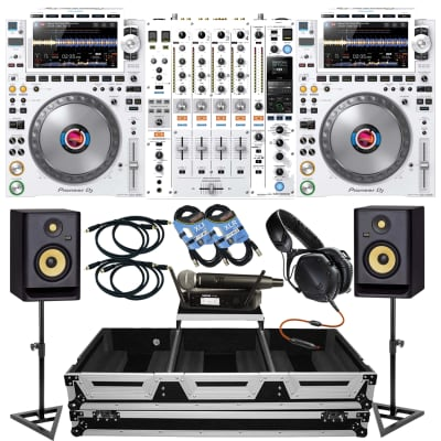(2) Pioneer CDJ-3000 White, DJM900NX2 White, XS-CDM2000WLT, Shure GLXD24/SM58, V-Moda V100, (2) XLR Cables, (4) RCA Cables, (2) KRK RP5G4, Monitor Stands Bundle