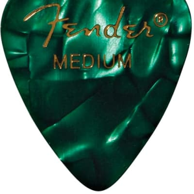 Fender Premium Celluloid 351 Shape Picks Medium Green Moto 12 Count for sale