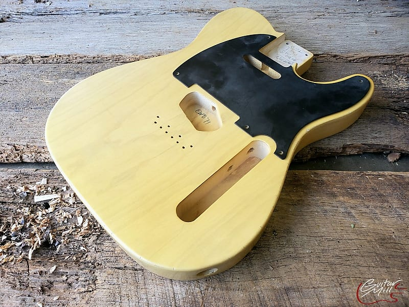 Guitar Mill T-Style Body / 1 pc Ultra Light Swamp Ash / Aged Nocaster  Blonde / Premium Stock (#875)