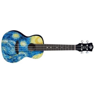 Luna Uke Starry Night Concert Acoustic Ukulele with Gig Bag, 20 Frets, C Shape Neck, Rosewood Fretboard, Satin Natural