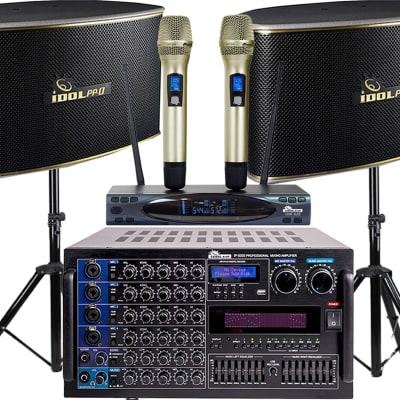 IDOLpro 6000W Mixing Amplifier W/ Bluetooth&1000W Speakers &Dual Wireless Microphones Karaoke System