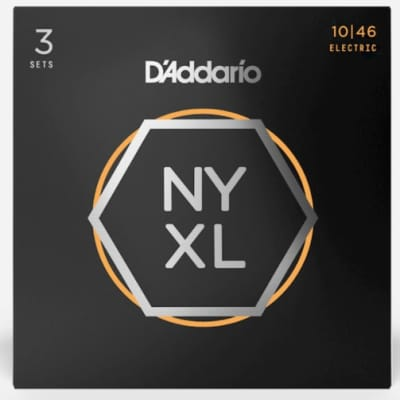 D'Addario NYXL1046-3P Nickel Wound Electric Guitar Strings, Regular Light, 10-46, 3 Pack