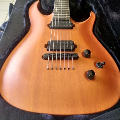 KXK 7S 7 String Orange Pearl, Custom made, Nazgul/ Sentient pups ziricote Fretboard Handmade in USA for sale