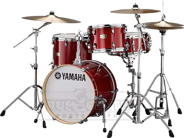 yamaha stage custom birch jazz 3pc drum set cranberry red
