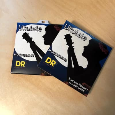 2x (two sets) DR Moonbeams Soprano/Concert Ukulele Strings, Clear Fluorocarbon