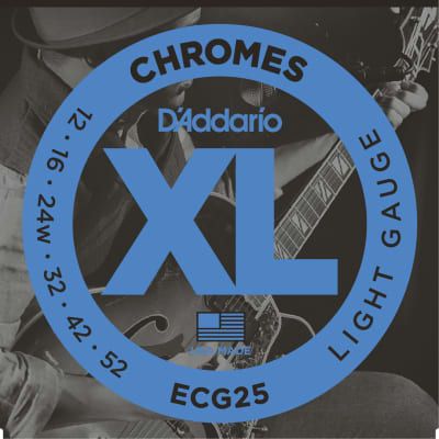 D'Addario Chromes Flat Wound Electric Guitar Strings Set, Light Gauge 12-52