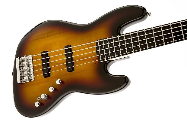 squier deluxe jazz bass v active 5 string 3 color sunburst reverb. Black Bedroom Furniture Sets. Home Design Ideas