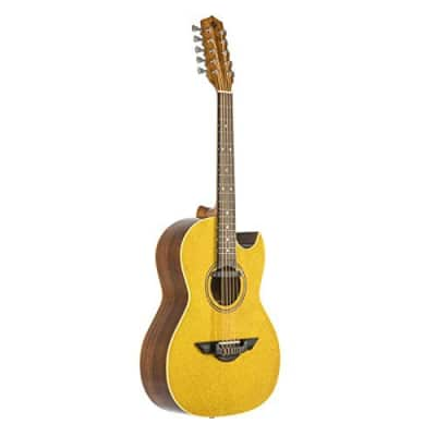 H Jimenez Bajo Quinto LBQ1EGT Gold Sparkle Acoustic Electric Guitar with Gig Bag
