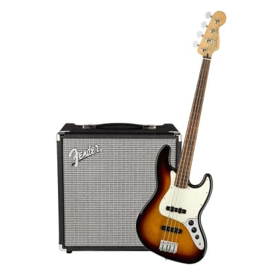 Fender Player Jazz Bass Fretless 3 Tone Sunburst Pau Ferro & Fender Rumble 25 Bundle for sale