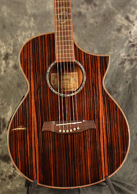 Ibanez Ewc30 Ebe Striped Ebony Gloss Exotic Wood Acoustic Electric W Deluxe Hardshell Case Included