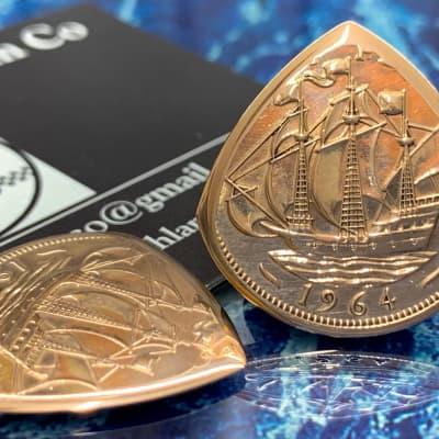 Special Offer, 25% Off Regular Price. One 1964 Queen Elizabeth Half Penny Coin Plectrum.