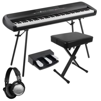 Korg SP-280 Digital Piano - Black HOME ESSENTIALS BUNDLE