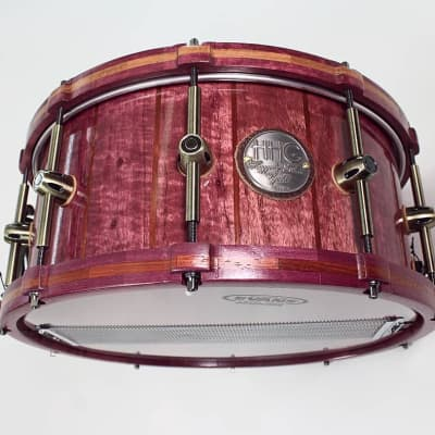 HHG Drums Purpleheart And Bubinga Stave Snare & Matching Wood Hoops 2020 Satin Lacquer