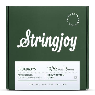 Stringjoy Broadways Heavy Bottom Light Gauge (10-52) Pure Nickel Electric Guitar Strings