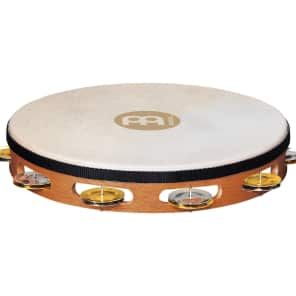 Meinl TAH1M-SNT Recording Combo Goatskin Head Wood Tambourine w/ Single Row Brass/Steel Jingles