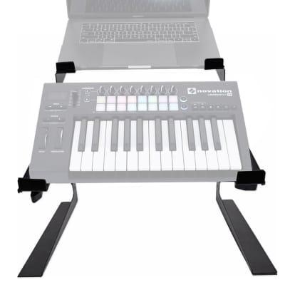 Rockville Dual Shelf Laptop+Controller Stand for Novation LAUNCHKEY 25 Keyboard