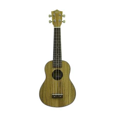 J&D Guitars Soprano Ukulele - Zebra Wood Top & Body, Banding from CNZ Audio for sale