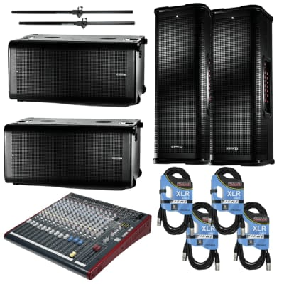 Line 6 StageSource L3t 1400W 3-way Smart Speaker System Pair + Line 6 StageSource L3s Powered Subwoofer (PAIR) + Allen & Heath ZED-16FX 16-Channel Recording and Live Sound Mixer with FX & USB + Cables and Poles.