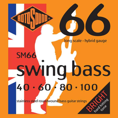 Rotosound SM66 Stainless Steel Swing  Bass Guitar Strings Gauge 10-100