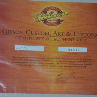 Gibson Customshop LPR8 CoA=original certificate USA=no reprint no fake