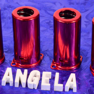 Four Red Medium Tall Nine Pin J-Slot Bayonet Twist-On Spring Loaded Tube Shields For 12AX7A, 12AT7
