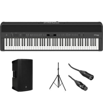 Roland FP-90 Digital Piano (Black) + Mackie Thump12A Speaker Kit with Stand and Cable