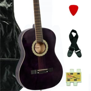 De Rosa DK3810R-DBP Kids Acoustic Guitar Outfit w/Gig Bag, Pick, Strings, Pitch Pipe & Guitar Strap for sale