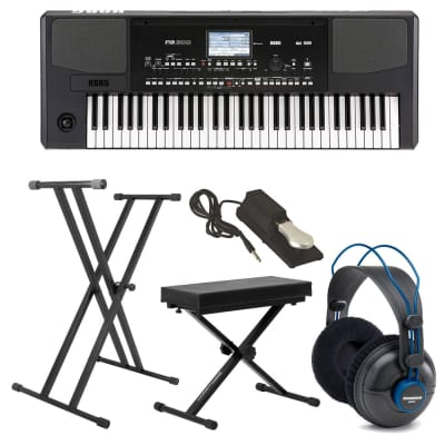 Korg PA300 61 - Key Arranger Color TouchView Display + Headphones + Stand + Bench + Pedal