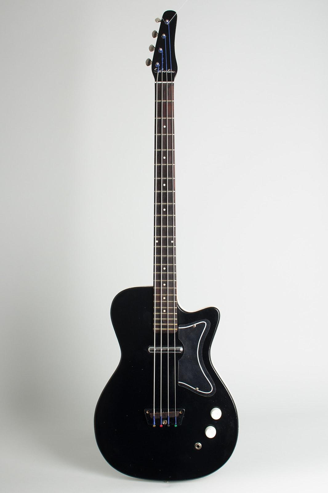 Silvertone Model 1444 Electric Bass Guitar, made by Danelectro (1965), ser. #2035, original grey hard shell case.