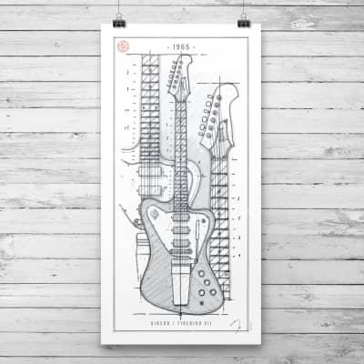 Poster White / Gibson Firebird VII / 1965